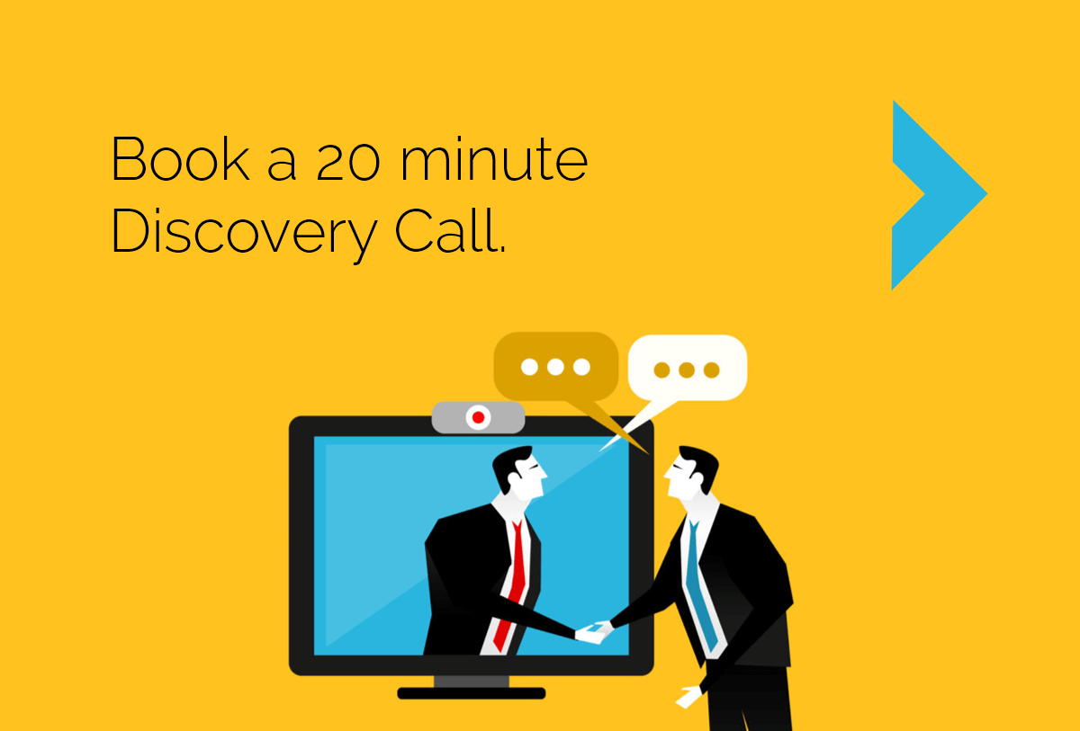 book a 20 minute discovery call with CyberStockroom. yellow background stylized image of 2 men in business suits shaking hands across a computer monitor to signify a web meeting.