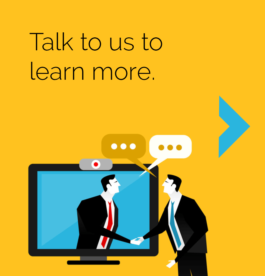Talk to us to learn more. yellow background stylized image of 2 men in business suits shaking hands across a computer monitor to signify a web meeting.