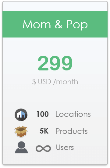pricing plan for CyberStockroom Inventory Management Software - Mom and Pop level, up to 100 locations, up to 5,000 products, unlimited users.