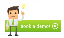 green button saying 'book a demo!' with a man standing in front of it raising his left hand