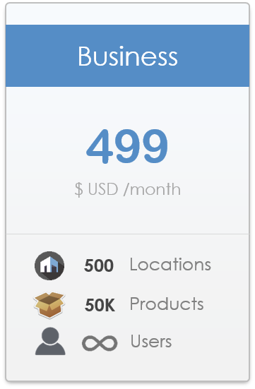 pricing plan for CyberStockroom Inventory Management Software - Business level, up to 500 locations, up to 50,000 products, unlimited users.